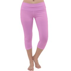 Pastel Color - Pale Cerise Capri Yoga Leggings by tarastyle