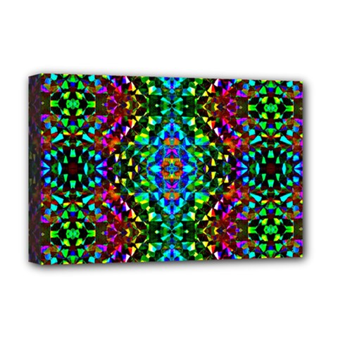 Glittering Kaleidoscope Mosaic Pattern Deluxe Canvas 18  X 12   by Costasonlineshop
