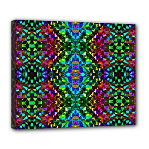 Glittering Kaleidoscope Mosaic Pattern Deluxe Canvas 24  X 20   by Costasonlineshop