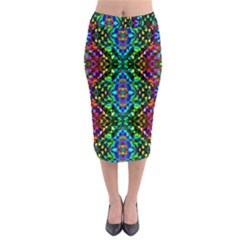 Glittering Kaleidoscope Mosaic Pattern Midi Pencil Skirt