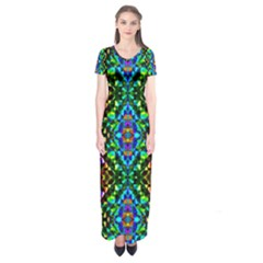 Glittering Kaleidoscope Mosaic Pattern Short Sleeve Maxi Dress by Costasonlineshop