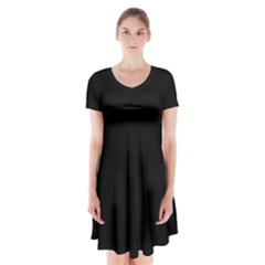 Black Gothic Short Sleeve V Neck Flare Dress by Costasonlineshop