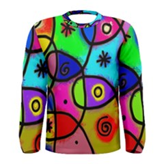 Digitally Painted Colourful Abstract Whimsical Shape Pattern Men s Long Sleeve Tee by Vayuart