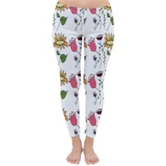 Handmade Pattern With Crazy Flowers Classic Winter Leggings by Vayuart