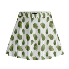 Leaves Motif Nature Pattern Mini Flare Skirt by dflcprintsclothing