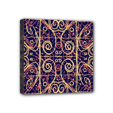 Tribal Ornate Pattern Mini Canvas 4  x 4