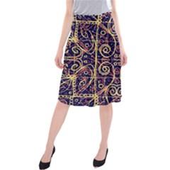 Tribal Ornate Pattern Midi Beach Skirt