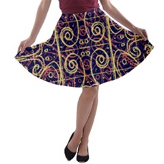 Tribal Ornate Pattern A Line Skater Skirt by dflcprintsclothing