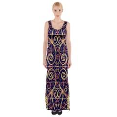 Tribal Ornate Pattern Maxi Thigh Split Dress by dflcprintsclothing