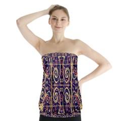 Tribal Ornate Pattern Strapless Top