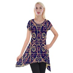 Tribal Ornate Pattern Short Sleeve Side Drop Tunic by dflcprintsclothing