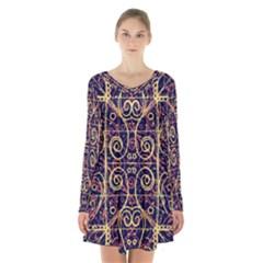 Tribal Ornate Pattern Long Sleeve Velvet V-neck Dress