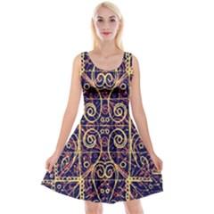 Tribal Ornate Pattern Reversible Velvet Sleeveless Dress