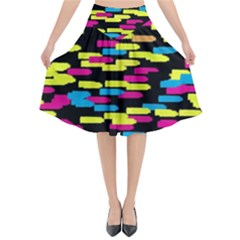 Colorful Strokes On A Black Background          Flared Midi Skirt by LalyLauraFLM