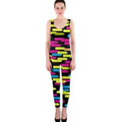 Colorful Strokes On A Black Background             Onepiece Catsuit by LalyLauraFLM