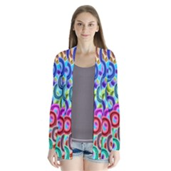 Colorful Ovals        Drape Collar Cardigan by LalyLauraFLM
