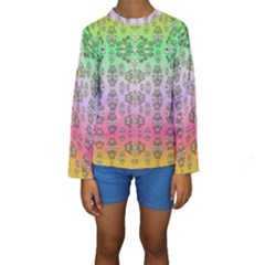 Summer Bloom In Festive Mood Kids  Long Sleeve Swimwear