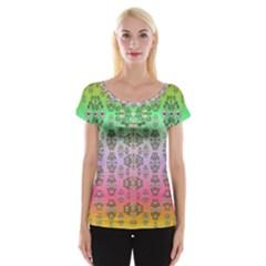 Summer Bloom In Festive Mood Women s Cap Sleeve Top