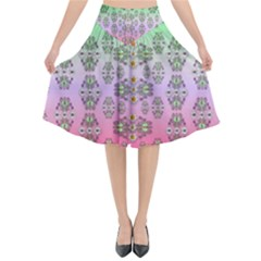 Summer Bloom In Festive Mood Flared Midi Skirt