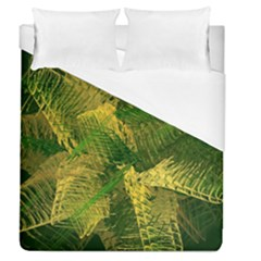 Green And Gold Abstract Duvet Cover (queen Size) by linceazul