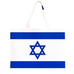 Flag Of Israel Zipper Large Tote Bag