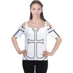 Anchored Cross  Women s Cutout Shoulder Tee by abbeyz71