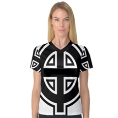 Celtic Cross Women s V Neck Sport Mesh Tee by abbeyz71