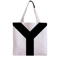 Forked Cross Zipper Grocery Tote Bag by abbeyz71