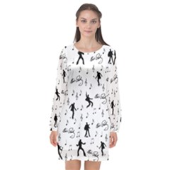 Elvis Presley Pattern Long Sleeve Chiffon Shift Dress