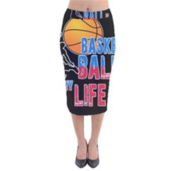 Basketball is my life Velvet Midi Pencil Skirt