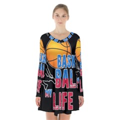 Basketball is my life Long Sleeve Velvet V-neck Dress