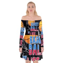 Basketball is my life Off Shoulder Skater Dress