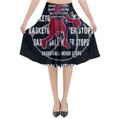 Basketball Never Stops Flared Midi Skirt
