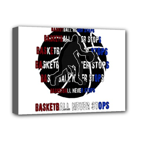 Basketball Never Stops Deluxe Canvas 16  X 12   by Valentinaart