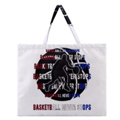 Basketball Never Stops Zipper Large Tote Bag