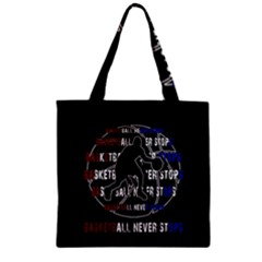 Basketball Never Stops Zipper Grocery Tote Bag by Valentinaart