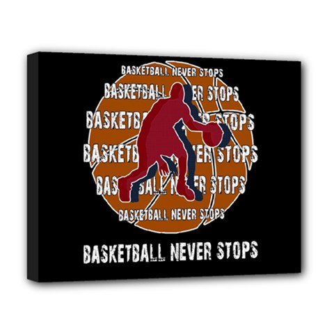 Basketball Never Stops Deluxe Canvas 20  X 16   by Valentinaart