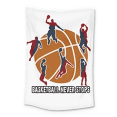 Basketball Never Stops Small Tapestry by Valentinaart