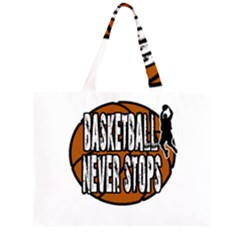 Basketball Never Stops Zipper Large Tote Bag by Valentinaart