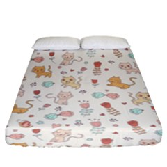 Kittens And Birds And Floral  Patterns Fitted Sheet (king Size) by TastefulDesigns