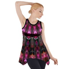 Pink Vortex Half Kaleidoscope  Side Drop Tank Tunic