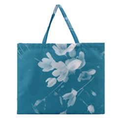 Autumn Crocus Blue Zipper Large Tote Bag by DeneWestUK