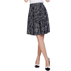 Linear Abstract Black And White A Line Skirt by dflcprintsclothing