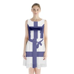 Greek Cross  Sleeveless Waist Tie Chiffon Dress