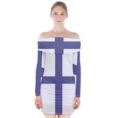 Greek Cross  Long Sleeve Off Shoulder Dress