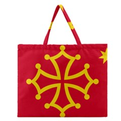 Flag Of Occitania Zipper Large Tote Bag by abbeyz71