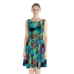 Abstract Square Wall Sleeveless Waist Tie Chiffon Dress