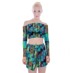 Abstract Square Wall Off Shoulder Top With Skirt Set