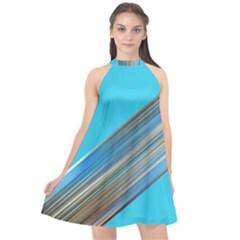 Blue Metal Annabellerockz Halter Neckline Chiffon Dress