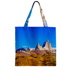Snowy Andes Mountains, El Chalten, Argentina Zipper Grocery Tote Bag by dflcprints